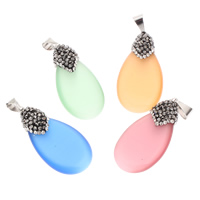 Cats Eye Pendants, with iron bail & Rhinestone Clay Pave, Teardrop, more colors for choice, 18x35x8mm, Hole:Approx 4x7mm, Sold By PC