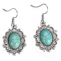 Turquoise Zinc Alloy Earring, with Synthetic Turquoise, brass earring hook, Flower, antique silver color plated, blue, lead & cadmium free, 30x20mm, Sold By Pair