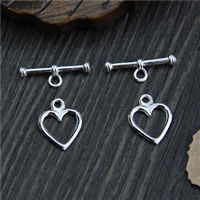 Sterling Silver Toggle Clasp, 925 Sterling Silver, Heart, 11.1mm, 18.2mm, Hole:Approx 2mm, Sold By Set