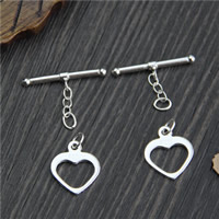 Sterling Silver Toggle Clasp, 925 Sterling Silver, Heart, 14mm, 22.8mm, Hole:Approx 2mm, Sold By Set