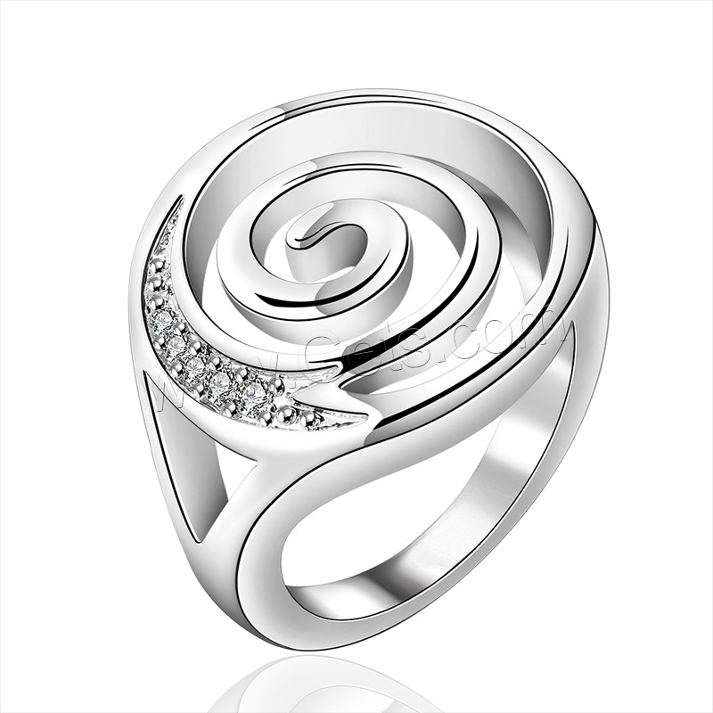 comeon® Finger Ring, Brass, Flat Round, real silver plated, micro pave cubic zirconia, 20x23mm, US Ring Size:8, Sold By PC