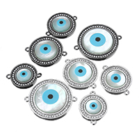 Evil Eye Jewelry Connector, Brass, with White Shell & Resin, plated, natural & Islamic jewelry & different size for choice & micro pave cubic zirconia & 1/1 loop, more colors for choice, Hole:Approx 1mm, Sold By PC