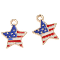Zinc Alloy Star Pendant, KC gold color plated, united states flag pattern & enamel, lead & cadmium free, 16x18x2mm, Hole:Approx 1mm, 10PCs/Bag, Sold By Bag