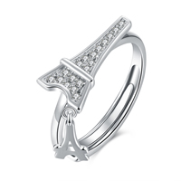 comeon® Finger Ring, 925 Sterling Silver, Eiffel Tower, adjustable & micro pave cubic zirconia, US Ring Size:8, Sold By PC