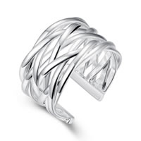 comeon® Finger Ring, Brass, real silver plated, US Ring Size:8, Sold By PC