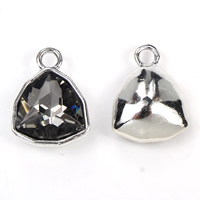 Glass Zinc Alloy Pendants, with Glass, silver color plated, faceted, lead & cadmium free, 14x18x7mm, Hole:Approx 2mm, Sold By PC