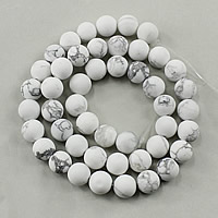 Natural White Turquoise Beads, Round, different size for choice & frosted, Hole:Approx 1-2mm, Length:Approx 15.5 Inch, Sold By Strand