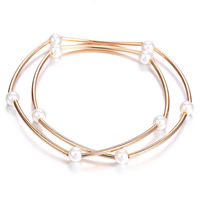Fashion Zinc Alloy Bracelets, with ABS Plastic Pearl, Round, rose gold color plated, 2-strand, lead & cadmium free, 55mm, Length:Approx 13 Inch, Sold By Strand