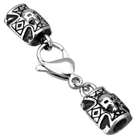 Stainless Steel Lobster Claw Cord Clasp, Skull Cross, with end cap & blacken, 52mm, 19x12x9mm, 20x12x5mm, Hole:Approx 5mm, 7x7.5mm, Sold By Set
