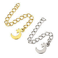 Stainless Steel Extender Chain, Moon and Star, plated, more colors for choice, 7x11x1mm, 3x4mm, Length:Approx 2.5 Inch, Sold By Strand