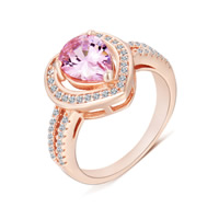 Crystal Zinc Alloy Finger Ring, with Crystal, Heart, rose gold color plated, different size for choice & micro pave cubic zirconia, 12mm, Sold By PC