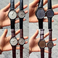 Couple Watch Bracelets, PU, with zinc alloy dial & Glass, Chinese movement, stainless steel pin buckle, plumbum black color plated, adjustable & different styles for choice & for couple, more colors for choice, Sold By PC