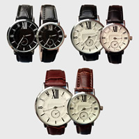 Couple Watch Bracelets, PU, with zinc alloy dial & Glass, Chinese movement, stainless steel pin buckle, platinum color plated, adjustable & different styles for choice & for couple, more colors for choice, Sold By PC