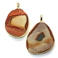 Agate Brass Pendants, with Ice Quartz Agate, gold color plated, natural & mixed, 30-40x44-48x5-6mm, Hole:Approx 5x7mm, Sold By PC