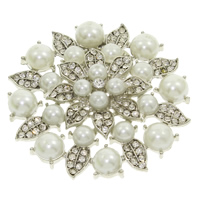Brass Buckle, with ABS Plastic Pearl, Flower, platinum color plated, with rhinestone, nickel, lead & cadmium free, 48x8mm, Sold By PC