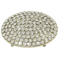 Brass Buckle, Flat Oval, platinum color plated, with rhinestone, nickel, lead & cadmium free, 56x42x6mm, Sold By PC