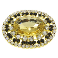 Brass Buckle, with Crystal, Flat Oval, gold color plated, faceted & with rhinestone, nickel, lead & cadmium free, 44x36x10mm, Sold By PC