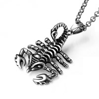 316L Stainless Steel Pendant, Scorpion, blacken, 32x43mm, Hole:Approx 8mm, Sold By PC