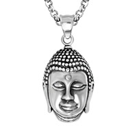 316L Stainless Steel Pendant, Buddha, blacken, 22x38mm, Hole:Approx 8mm, Sold By PC