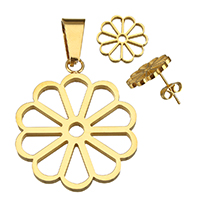 Stainless Steel Jewelry Sets, pendant & earring, Flower, gold color plated, 24x29x2mm, 15x14x12.5mm, Hole:Approx 4x8mm, Sold By Set