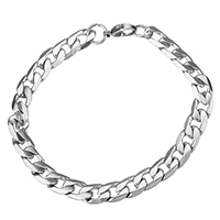 Stainless Steel Curb Chain, original color, 8.5x13x2.5mm, Length:Approx 9 Inch, Sold By Strand