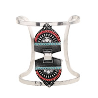 Iron Cuff Bangle, with brass chain & Zinc Alloy, plated, with electrophoresis & with rhinestone, Inner Diameter:Approx 65mm, Length:Approx 8 Inch, Sold By PC