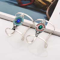 Iron Cuff Bangle, with brass chain & Crystal & Zinc Alloy, antique silver color plated, with electrophoresis & faceted & with rhinestone, more colors for choice, Inner Diameter:Approx 65mm, Length:Approx 8 Inch, Sold By PC
