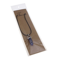 Millefiori Glass Jewelry Necklace, with Waxed Linen Cord & OPP Bag & Zinc Alloy, with 5cm extender chain, pendulum, platinum color plated, 13x42x10mm, Length:Approx 15.5 Inch, Sold By Strand