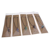 Millefiori Glass Jewelry Necklace, with Waxed Linen Cord & OPP Bag & Zinc Alloy, with 5cm extender chain, pendulum, platinum color plated, more colors for choice, 15x27mm, Length:Approx 15.5 Inch, Sold By Strand