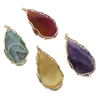 Agate Brass Pendants, with Brass, Teardrop, gold color plated, dyed & different materials for choice, 35x72x18mm-36x74x20mm, Hole:Approx 4x5mm, Sold By PC