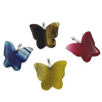 Agate Brass Pendants, with brass bail, Butterfly, platinum color plated, dyed & different materials for choice, 41x40x5mm-46x42x6mm, Hole:Approx 4x5mm, Sold By PC