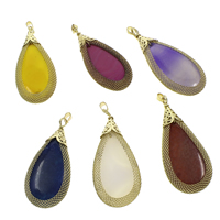 Agate Brass Pendants, with Brass, Teardrop, gold color plated, dyed & different materials for choice, 30x70x6mm-33x75x8mm, Hole:Approx 4x5mm, Sold By PC