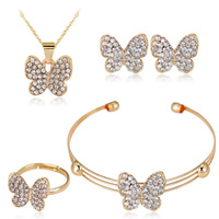 Rhinestone Zinc Alloy Jewelry Set, bangle & finger ring & earring & necklace, with plastic earnut & iron chain, stainless steel post pin, Butterfly, gold color plated, adjustable & oval chain & with rhinestone, lead & cadmium free, 15x13mm, 15x17mm, Inner Diameter:Approx 50mm, US Ring Size:6-9, Length:Approx 6 Inch, Approx  17.5 Inch, Sold By Set