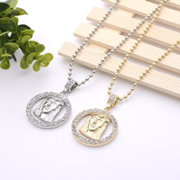 Zinc Alloy Sweater Chain Necklace, plated, ball chain & with rhinestone, more colors for choice, 38x38mm, Length:Approx 27.5 Inch, Sold By Strand