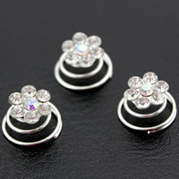 Hair Spinners, Zinc Alloy, Flower, platinum color plated, with rhinestone, lead & cadmium free, 15x12mm, 12PCs/Box, Sold By Box