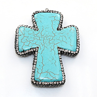 Natural White Turquoise Pendant, with brass bail & Rhinestone Clay Pave, Cross, platinum color plated, dyed, 43.5x55x7.5mm, Hole:Approx 2mm, Sold By PC