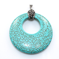 Natural White Turquoise Pendant, with brass bail & Rhinestone Clay Pave, Donut, platinum color plated, dyed, blue, 47.5x53x9.5mm, Hole:Approx 3.5x8mm, Sold By PC