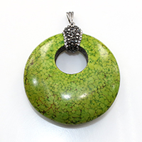 Natural White Turquoise Pendant, with brass bail & Rhinestone Clay Pave, Donut, platinum color plated, dyed, green, 44.5x49.5x10.5mm, Hole:Approx 3.5x8mm, Sold By PC