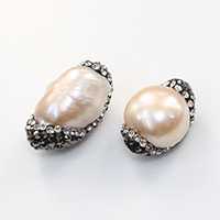 Natural Pink Shell Beads, with Rhinestone Clay Pave, Nuggets, 13-13.5x19-22.5x11.5-12mm, Hole:Approx 0.5mm, Sold By PC