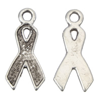 Awareness Ribbon Pendant, Zinc Alloy, antique silver color plated, lead & cadmium free, 9x19x1mm, Hole:Approx 2mm, Approx 250PCs/Bag, Sold By Bag