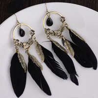 Fashion Feather Earring , Zinc Alloy, with Feather, iron earring hook, antique bronze color plated, lead & cadmium free, 111mm, Sold By Pair