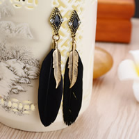Fashion Feather Earring , Zinc Alloy, with Feather, iron earring hook, antique gold color plated, enamel & with rhinestone, lead & cadmium free, 87mm, Sold By Pair