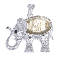 Moss Agate Pendants, Zinc Alloy, with Moss Agate, Elephant, platinum color plated, with rhinestone, lead & cadmium free, 45x41x10mm, Hole:Approx 5x7mm, Sold By PC