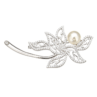 Sterling Silver Brooches, 925 Sterling Silver, with Freshwater Pearl, Flower, plated, natural & micro pave cubic zirconia, more colors for choice, 65x31x17mm, Sold By PC