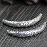 925 Sterling Silver Curved Tube Beads, 6.5x42mm, Hole:Approx 1.2mm, Sold By PC