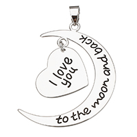 Enamel Sterling Silver Pendants, 925 Sterling Silver, word I love you to the moon and back, plated, more colors for choice, 24x32x0.8mm, 14x16x0.8mm, Hole:Approx 3.5x4mm, Sold By PC