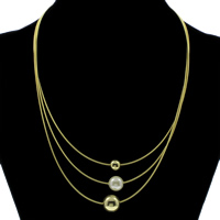 Fashion Multi Layer Necklace, Brass, with South Sea Shell, with 5cm extender chain, Round, gold color plated, snake chain, nickel, lead & cadmium free, Grade AAA, 12mm, Length:Approx 16.5 Inch, Sold By Strand