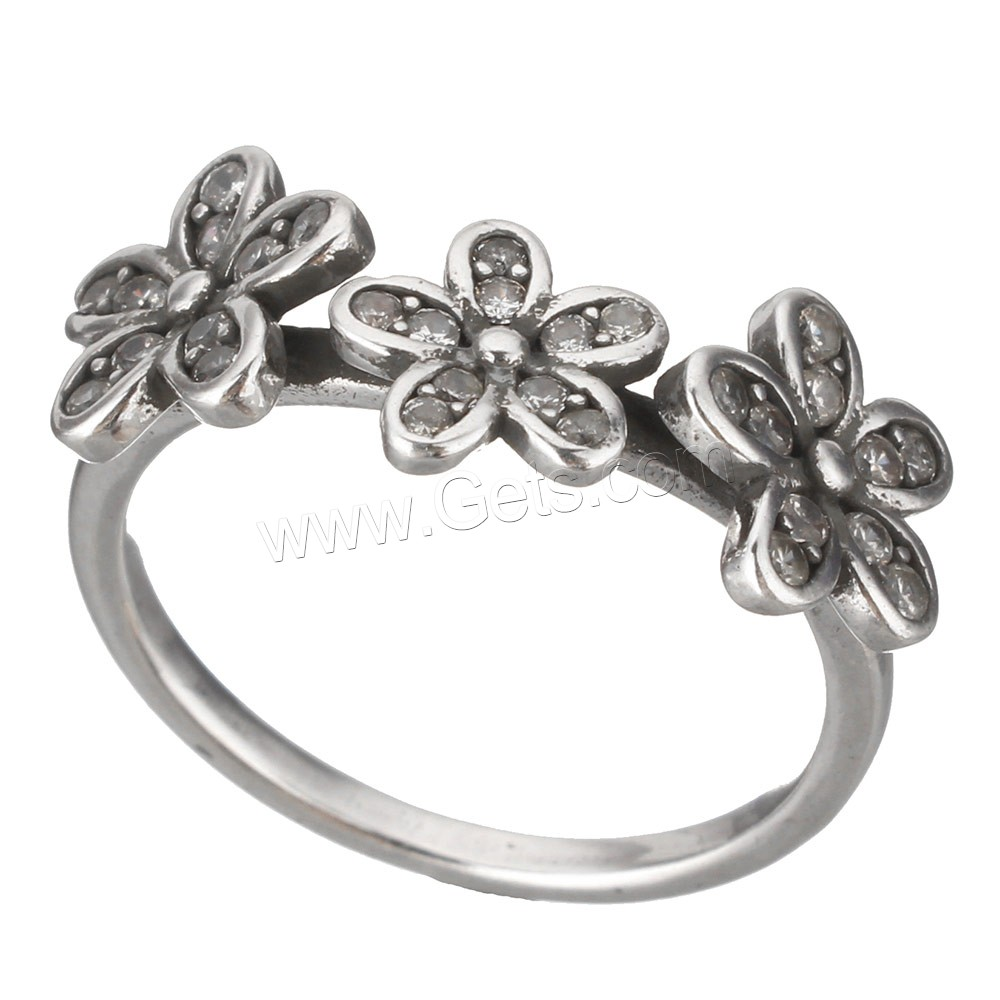 Cubic Zirconia Micro Pave Brass Finger Ring, Flower, platinum color plated, different size for choice & micro pave cubic zirconia & blacken, 9x2mm, Sold By PC