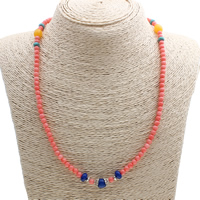 Natural Coral Necklace, with Yellow Agate & Zinc Alloy, antique silver color plated, 8x7mm, Length:Approx 19.5 Inch, Sold By Strand