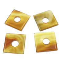 Lace Agate Linking Ring, Square, yellow, 41x41x7mm, Hole:Approx 13mm, Sold By PC